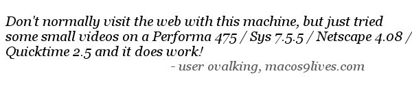 quote user ovalking about using Cornica on his performa 475